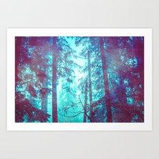 Nature Forest - Blue Mystical Winter Trees Art Print