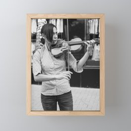 Bulgarian girl musician plays her violin on a street - Black and white musical photography Framed Mini Art Print