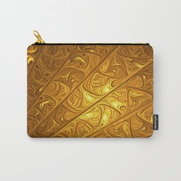 Abstract Art, Modern Fractal With Gold Carry-All Pouch