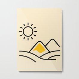 sun and desert Orange boho Art sun Metal Print