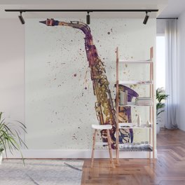 An abstract watercolor print of a Saxophone Wall Mural