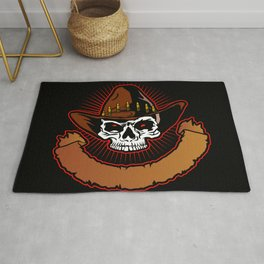 illustration of Cowboy skull Rug