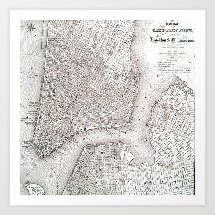 Vintage New York City Map Art Print By Newyorkcityart Society6