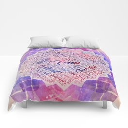 I am Affirmations Word Cloud Art in lotus Comforters