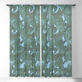 Monstera (Jungle) - Teal x Sky Sheer Curtain