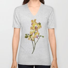 Yellow Phalaenopsis Orchid Traditional Artwork Unisex V-Neck