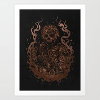 military Art Prints featuring Military skull by barmalisiRTB