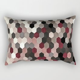 Hexagon Pattern In Gray and Burgundy Autumn Colors Rectangular Pillow
