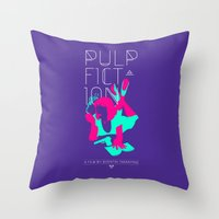 pulp Throw Pillows featuring Pulp Fiction by RJ Artworks