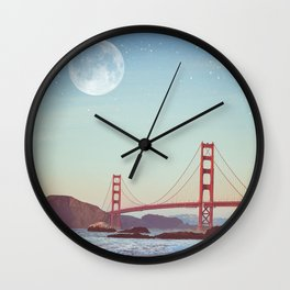 Golden Gate Moonrise | Golden Gate Bridge | Night Sky Wall Clock