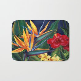 Tropical Paradise Hawaiian Floral Illustration Bath Mat