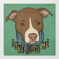 pit bull Canvas Prints featuring Pit bull Pride by Sara Robish Andrews