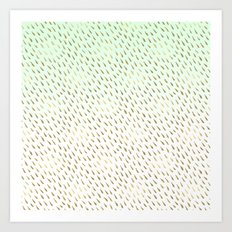 Abstract Glam Mint Gold Ombre Art Print