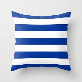 Smalt (Dark powder blue) - solid color - white stripes pattern Throw Pillow
