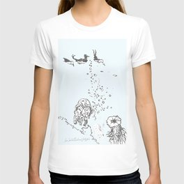 Two Tailed Duck and Jellyfish Pale Blue T-shirt