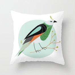 Little Birdy Portrait - Mint Throw Pillow