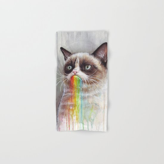 Cat Tastes the Grumpy Rainbow | Watercolor Painting Hand & Bath Towel