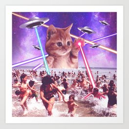 cat invader from space galaxy marsians attacking beach Art Print