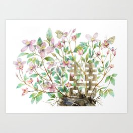 Clematis and Happiness in Marriage Symbol in a Nest Art Print