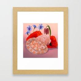 Snek and Poppies Framed Art Print