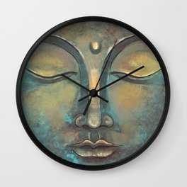 Rusty Golden Copper Buddha Face Watercolor Painting Wall Clock
