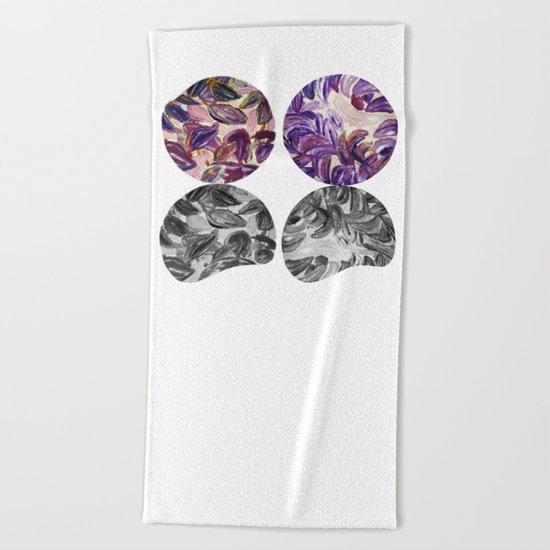 DRIP DRIP DRIP Purple Leaves Shadow Black and White Beach Towel