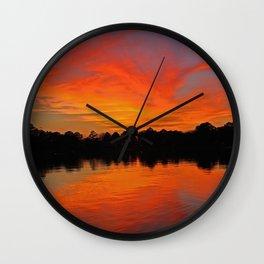 Lafayette River Sunset Wall Clock