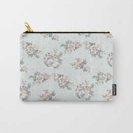 Pastel blue brown pink vintage roses polka dots pattern Carry-All Pouch