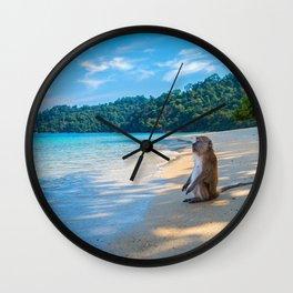 Monkey on the Beach Wall Clock