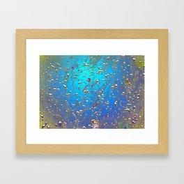 Abstract Blue Golden Rain Framed Art Print