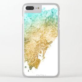 Barcelona Watercolor Map #1 Clear iPhone Case