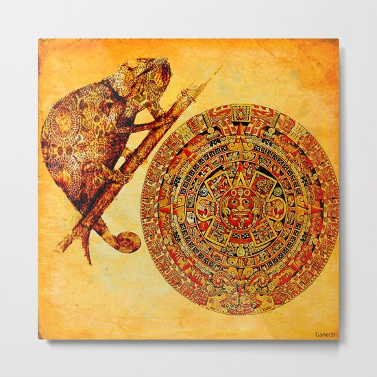 The camouflage of the Aztec chameleon Metal Print