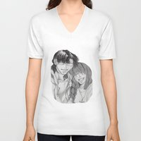 anime V-neck T-shirts featuring Anime Couple by Ugurcanozmen