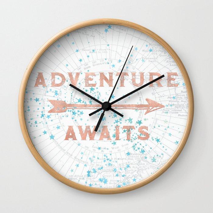 Adventure Awaits Rose Gold Wall Clock
