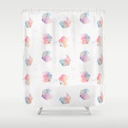 Watercolor hexagons Shower Curtain