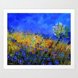 Blue cornflowers in Derage Art Print