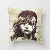 les miserables Throw Pillows featuring Les Miserables Girl by Pop Atelier