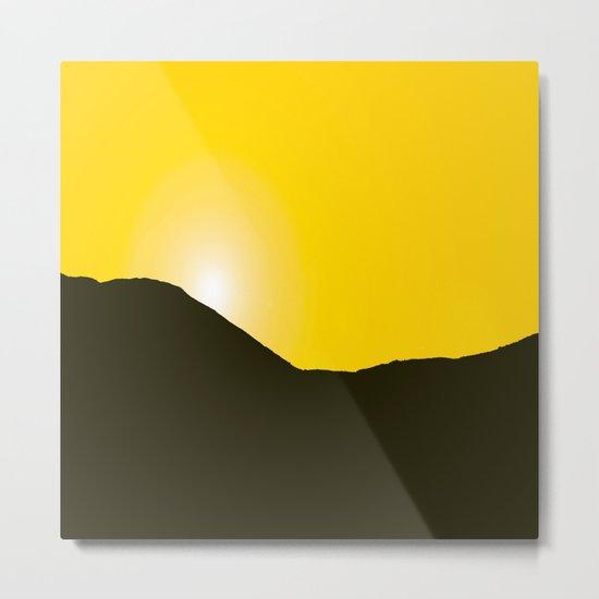 Mountain silhuette - sunrise sky - black rockymountain on yellow background - #Society6 #buyart Metal Print