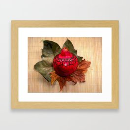 Henna Inspired Hand Painted Pomegranate  Framed Art Print
