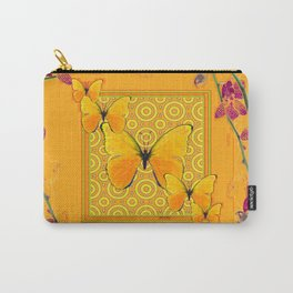 Golden Butterflies Pattern Purple-Pink Orchids Gold Art Carry-All Pouch