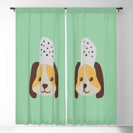 cute doggo with croc on the head - green Blackout Curtain