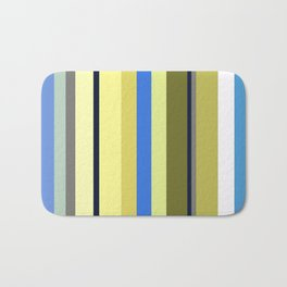 Blue and Moss Stripes Bath Mat