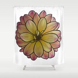 Yellow & Pink Dahlia Shower Curtain