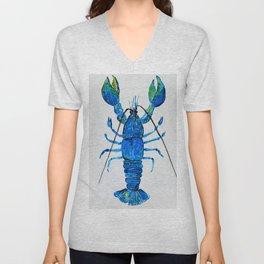 Blue Lobster Wall Art, Lobster Bathroom Decor, Lobster Crustacean Marine Biology Unisex V-Neck