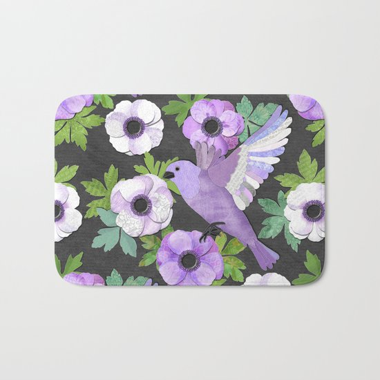 Purple Paper Anemone Collage Bath Mat