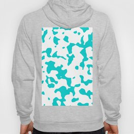 Large Spots - White and Cyan Hoody