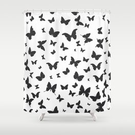 black butterflies silhouette pattern on white background Shower Curtain
