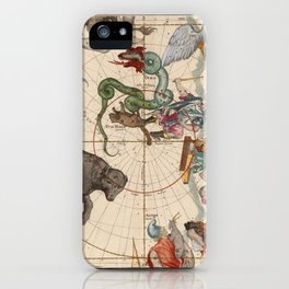 Pictorial Celestial Map with Constellations Ursa Major and Ursa Minor iPhone Case