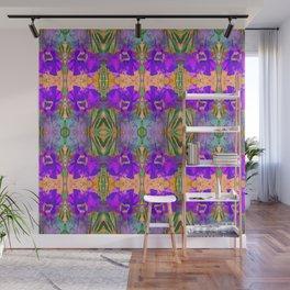 Fluorescent Watercolor Iris Art - Violet and Papaya Peach Wall Mural