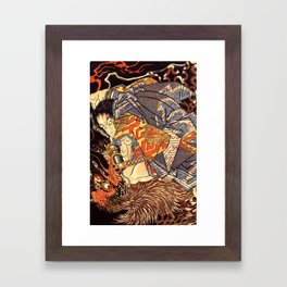 Fight With Tengu Framed Art Print